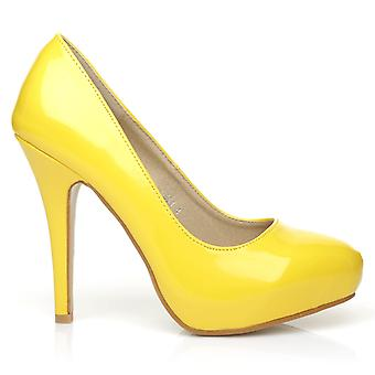 H251 Yellow Patent PU Leather Stiletto High Heel Concealed Platform Court Shoes