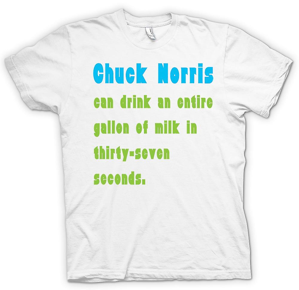 Womens T-shirt - Chuck Norris Can Drink A Gallon Of Milk In 37 Seconds
