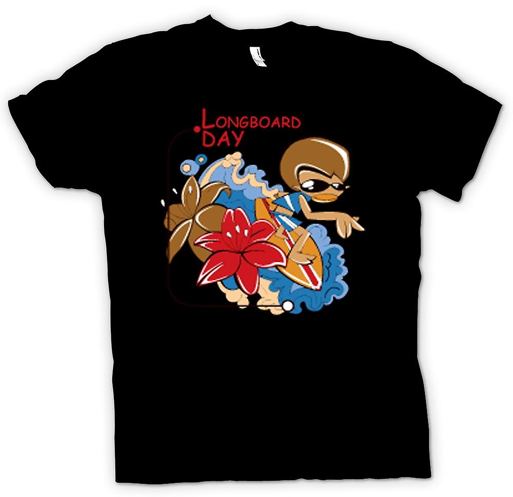 Mens t-shirt-giorno di Longboard Wave Surfer