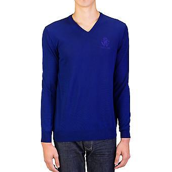 Scollo a v lana maglione blu Roberto Cavalli uomo