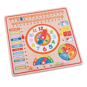 Bigjigs Toys Educational Wooden Calendar and Clock Date Time Numbers
