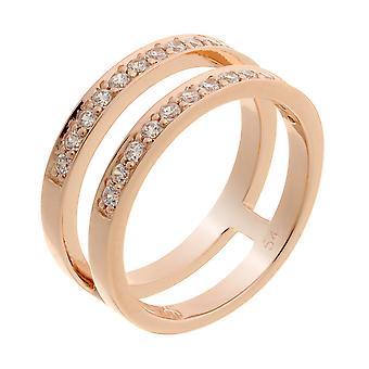 Orphelia Silver 925 Ring Rosegold 2 lijnen zirkonium ZR-7124/RG
