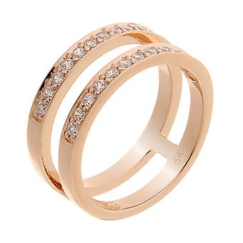 Orphelia Silver 925 Ring Rosegold 2 Lines  Zirconium   ZR-7124/RG