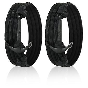 Skipper Anker-Armband Wickelarmband Set für Sie & Ihn 2 Stück mit Schwarzem Anker 7057
