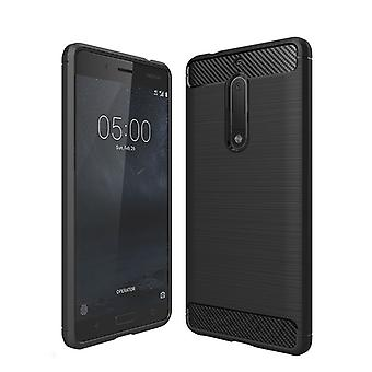 Silikoncase TPU carbon stlye black case for Nokia 5 2017 bag cover new top