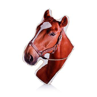 Adorable chestnut horse shaped midi cushion