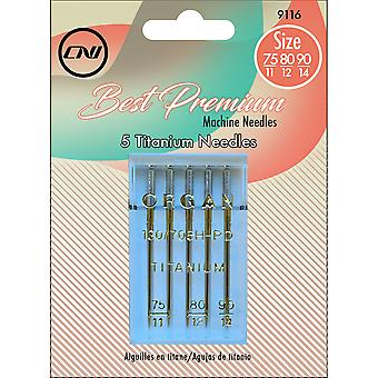 Assorted Titanium Machine Needles 5/Pkg-Sizes 75/11, 80/12, 90/14