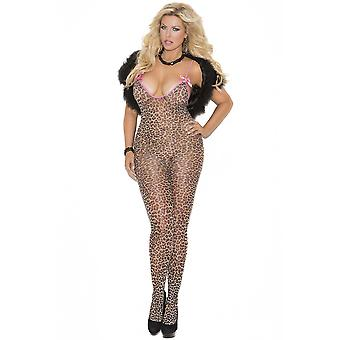 Womens Plus Size Leopard Print Satin Bow Crotchless Bodystocking Bodysuit Lingerie