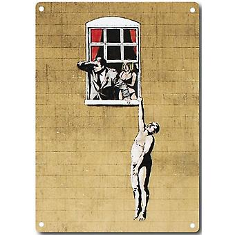 Banksy Lover Hanging From Window Metal Sign 380Mm X 280Mm