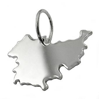 Trailer map Thuringia TH pendant in solid 925 sterling silver
