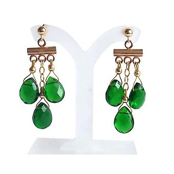 Tourmaline chandelier ESMANA-GREEN tourmaline drop earrings earrings gold plated