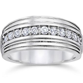 1/2 Carat Mens Diamond Wedding Ring 10K White Gold