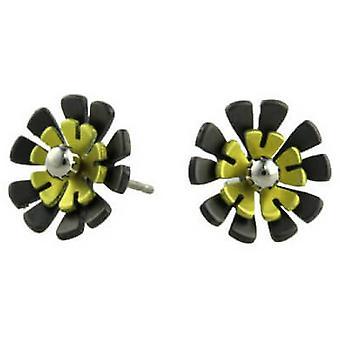 Черный титан Ti2 обратно десять лепесток цветка Стад Серьги - лимонно-желтый