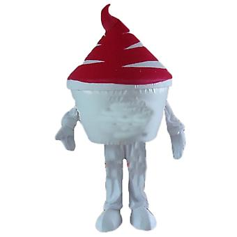 mascot SPOTSOUND of pint of ice cream, ice cream, white and Red