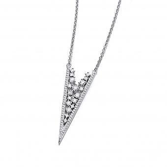 Cavendish franska Deco stil Silver och CZ spets halsband