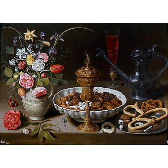 Still life with Vase, jug, and Platter of, Clara Peeters, 52x73cm
