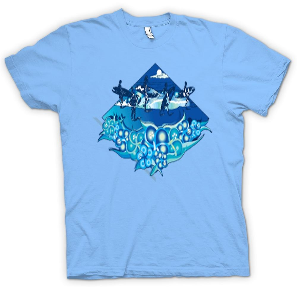 Mens T-shirt - Surfer Design With Waves & Dolphins