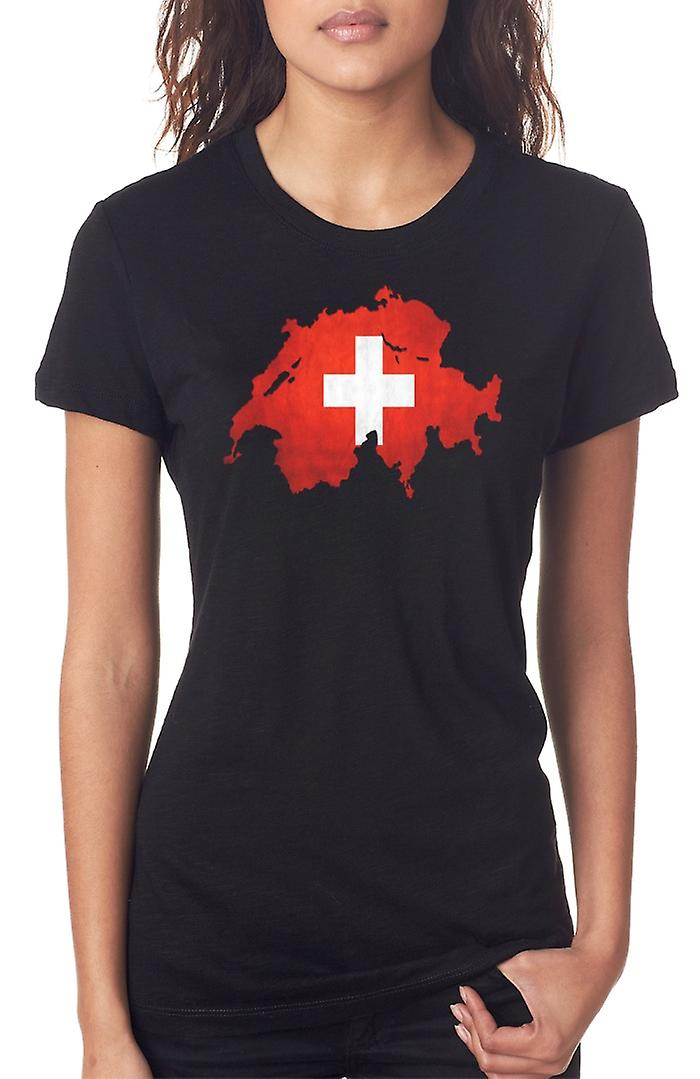 Switzerland Flag Map Ladies T Shirt