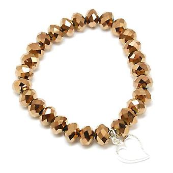 Kleshna Fab Silver Twist Bracelet Golden Brown Crystal