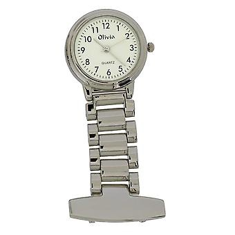 The Olivia Collection White Dial Silver Tone Nurses Fob Watch TOC04