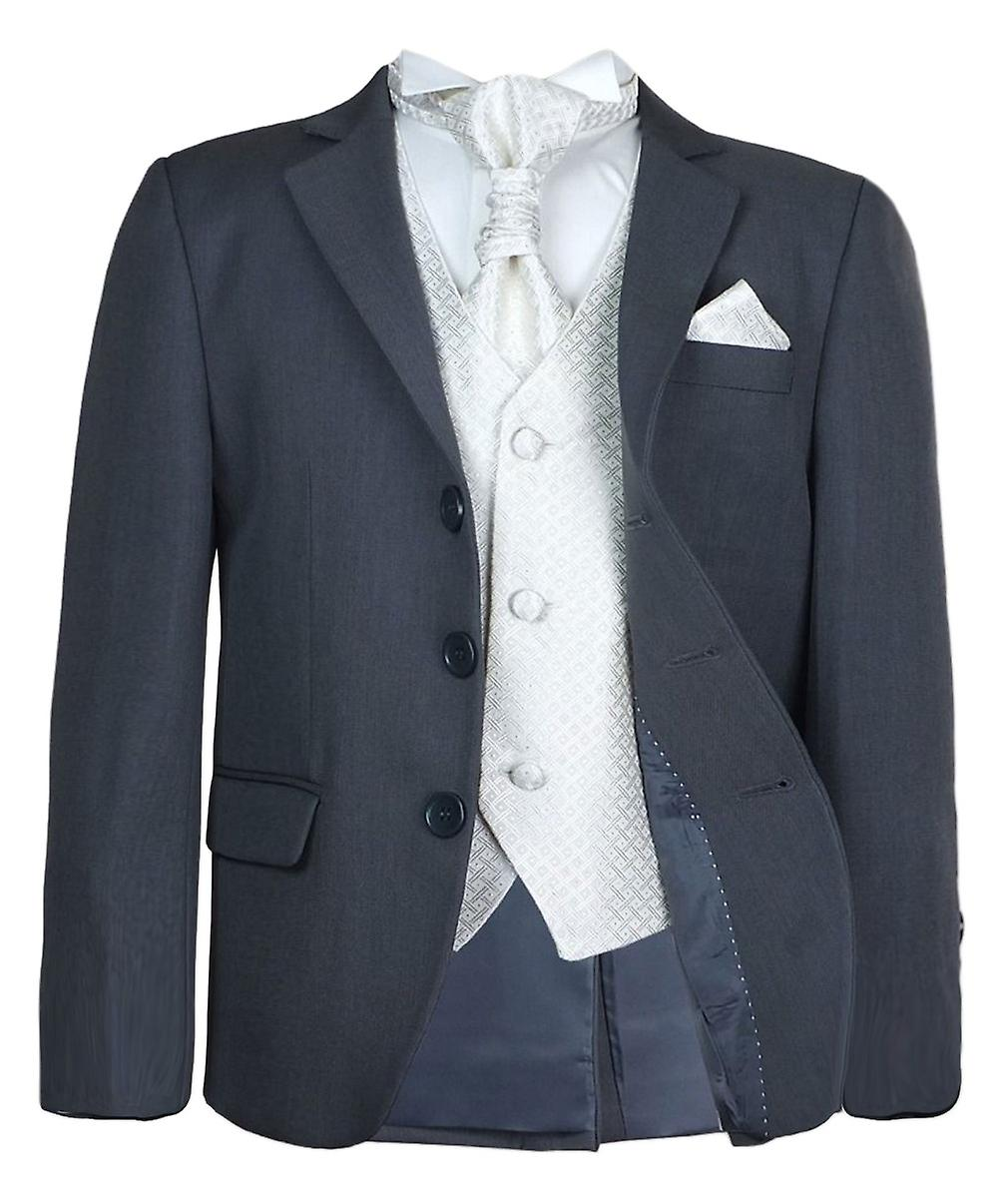 Garçons 5 nouveaux Pc gris & costume cravate Ivoire mariage