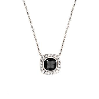 Bertha Juliet Collection Women's 18K WG Plated Black Cushion Halo Fashion Necklace