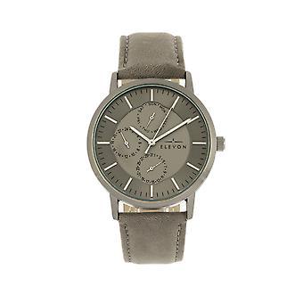 Elevon Lear Leather-Band Watch w/Day/Date - Grey/Gunmetal