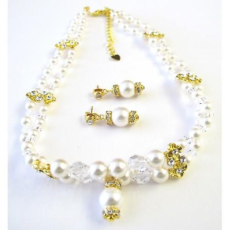 Double Stranded Swarovski White Pearls Crystals Necklace Gold Rondells