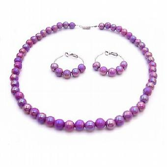 Puprle Dress Girls Jewelry Flower Girls Necklace Set Purple
