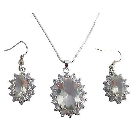 Affordable Gift Clear Stone Oval Pendant Earrings Set w/ Gift Box