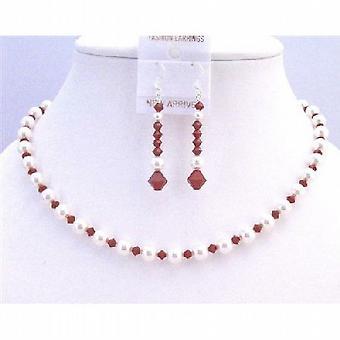 Förförelse rödvin Swarovski kristaller med rena vita pärlor halsband Set 6367344fde7e9