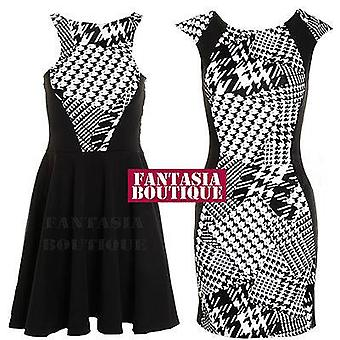 Ladies Black White Dogtooth Print Flock Flare Stretch Slim Bodycon Women's Dress