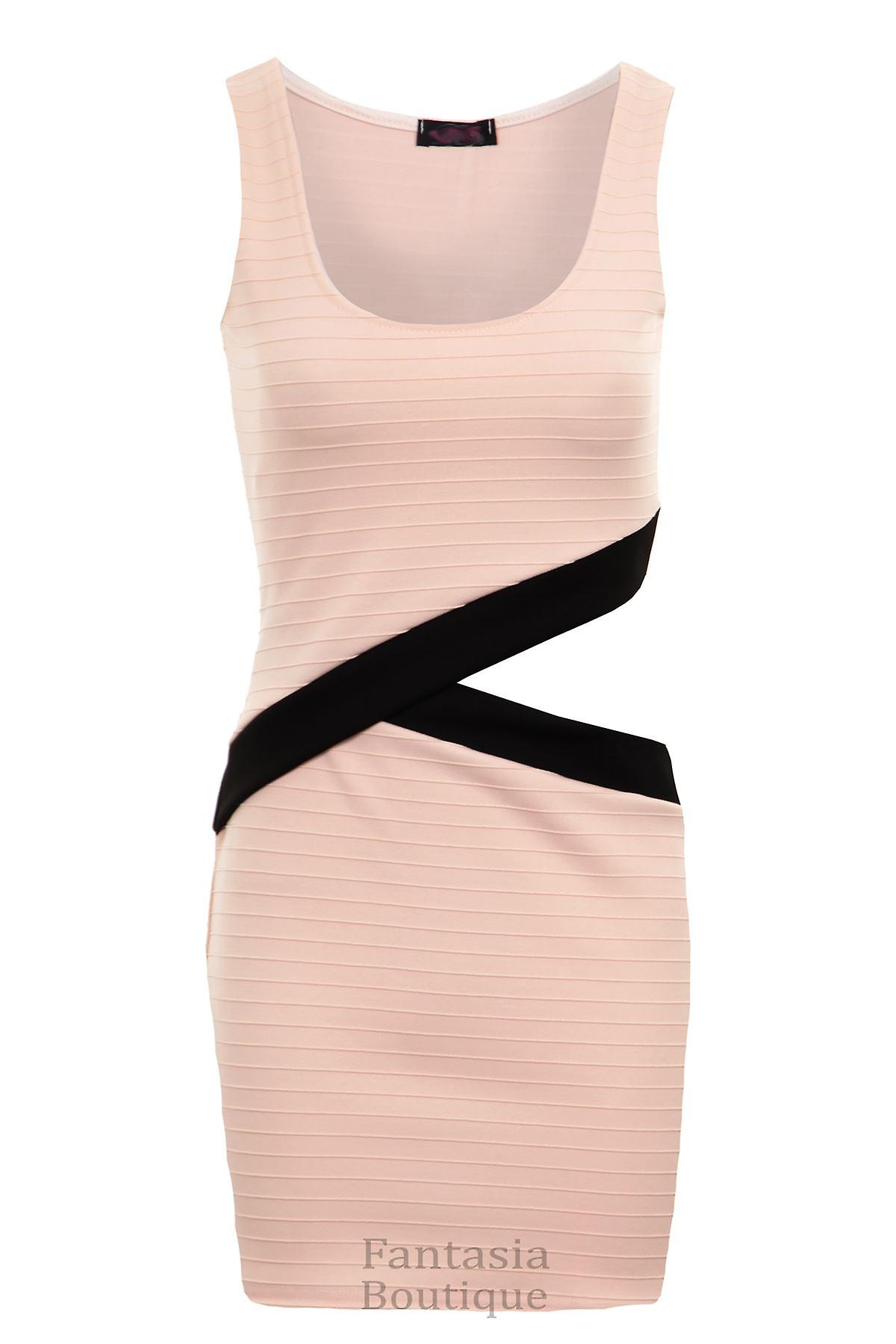New Ladies Sleeveless Side Diagonal Cut Out Ribbed Women's Bodycon Dress