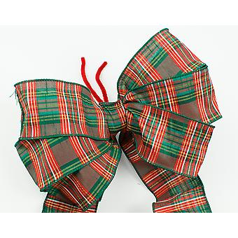 Large Three Loop Traditional Tartan Christmas Wreath or Tree Bow with Tails