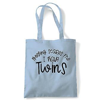 Non mi spaventa niente ho Twins Tote | Reusable Shopping in tela di cotone lungo gestito naturale Shopper moda Eco-Friendly | Borsa da palestra libro regalo di compleanno regalo lei | Più colori disponibili