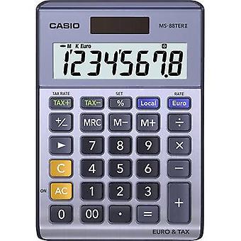 Bureaucalculator Casio MS-88TERII paars-grijs display (cijfers): 8 zonne-energie, batterij-Powered (W x H x D) 103 x 29 x 147 mm
