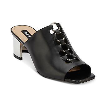 DKNY Womens Greyson Leather Peep Toe Mules