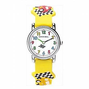 Cannibal 3D Racing Car Yellow Rubber Strap Watch CK198-18