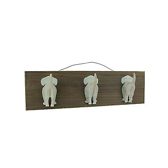 Wood and Metal White Dog Tails Wall Hook Rack