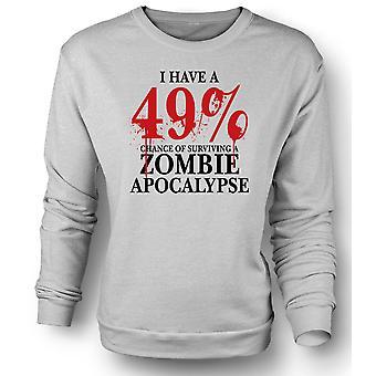 Womens Sweatshirt Zombie Apocalypse 49% - Horror grappig