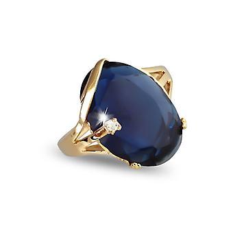 Guldpläterad ring med syntetisk safir och kubisk zirkonium