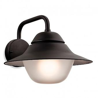 1 Light Outdoor Wall Light Black, Frosted Glass Ip44