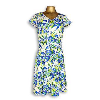 Isaac Mizrahi Live! Kleid Garten Floral Print Fit Blau A288662