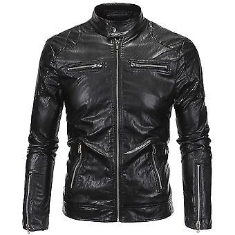 Allthemen Men's Leather Jacket Slim Fit Punk Zipper Autumn Leather Coat
