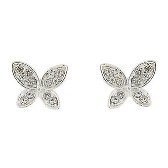 Zilver en duidelijke Crystal Butterfly Stud Earrings Stud Earrings