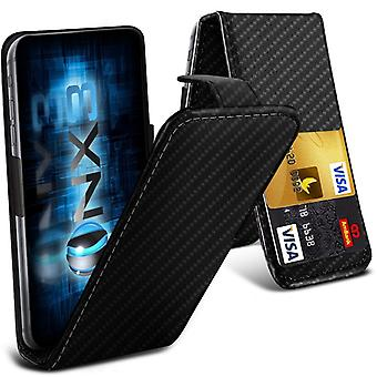 ONX3 (Carbon Fibre) BlackBerry DTEK50 / BlackBerry Neon Premium PU Leather Universal Spring Clamp Flip Case with Camera Slide and Card Slot Holder