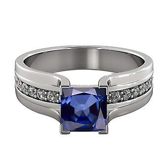 14K White Gold 1.20 ctw Blue Sapphire Ring with Diamonds Bridge Channel set Princess