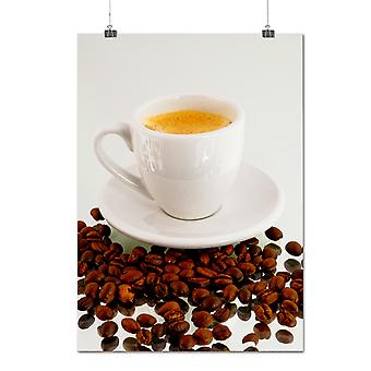 Matte or Glossy Poster with Coffee Espresso Bean Food White Cup | Wellcoda | *q390