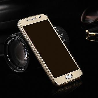 Crystal case cover for Samsung Galaxy E5 gold frame full body