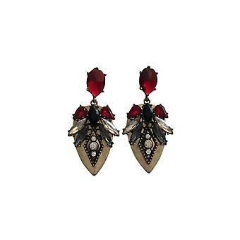 Red boho chic statement earrings